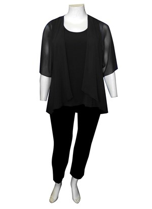 BLACK - Linda 2 in 1 chiffon overlay tunic