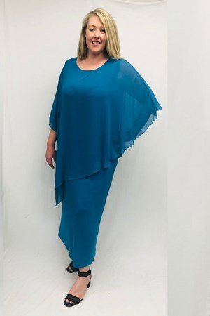 Amy chiffon overlay soft knit maxi dress