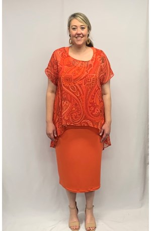 Chiffon Printed Top - ORANGE PAISLEY