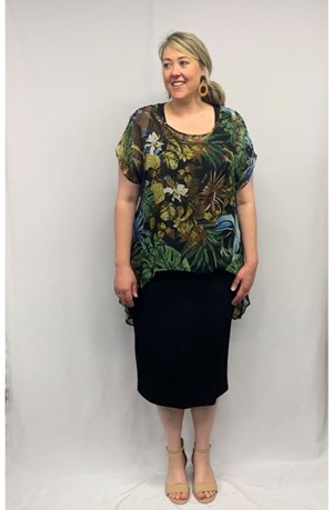 Chiffon Printed Top - GREEN LEAF