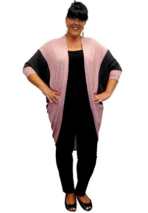 DUSTY PINK - Sharon contrast cocoon cardi