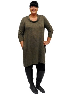LIMITED STOCK - KHAKI - Isabella cowl neck tunic dress