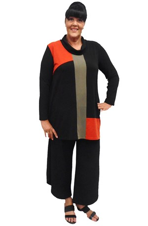 LIMITED STOCK - Sasha contrast cowl neck tunic