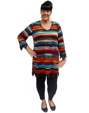 Fiona v-neck tunic with trim