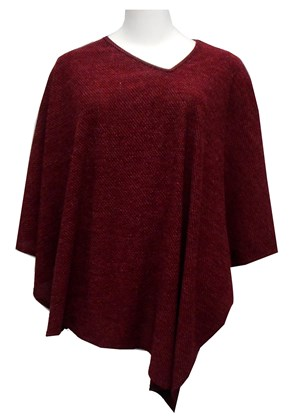 RED - O/S - Tiani knit poncho