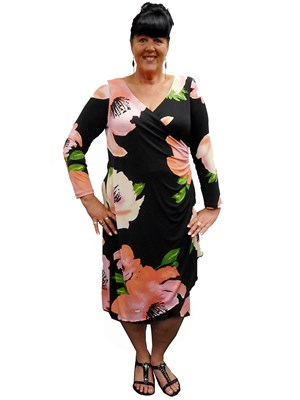 FLORAL - Catherine false wrap dress
