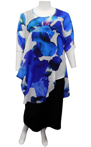 BLUE FLORAL - Vicky chiffon cowl side top