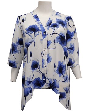 BLUE/WHITE - Shirley blouse