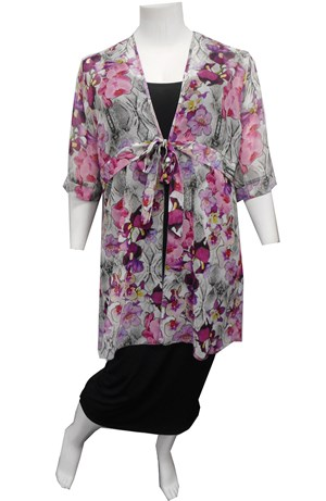 LIMITED PURPLE - Karly chiffon tie jacket