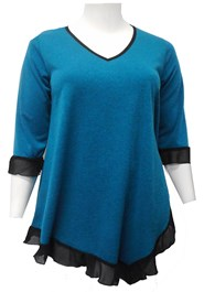 TEAL - Lily contrast hem knit tunic