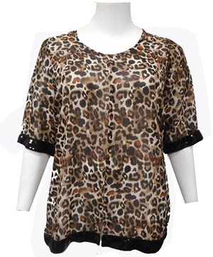 LIMITED STOCK - Ava animal top with sequin trim