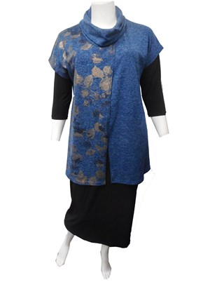 BLUE - Penny contrast cowl neck knit tunic
