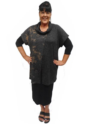 CHARCOAL - Penny contrast cowl neck tunic