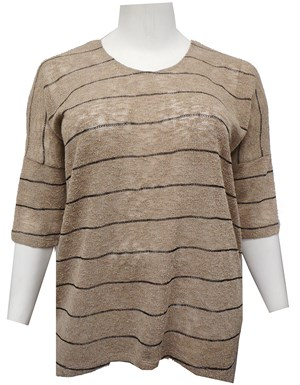 BEIGE - Melissa stripe knit top