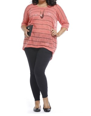 PEACH - Melissa stripe knit top