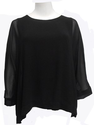 BLACK - Ruth chiffon overlay top