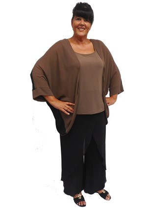 BROWN - Vivian batwing chiffon shrug