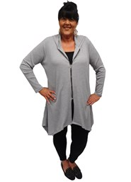 Marie zip front ribbed cardi with hood