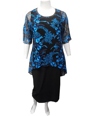 BLACK/BLUE - Beth embroidered tunic
