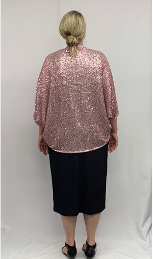 Sparkle Knit Shrug Backview PINK