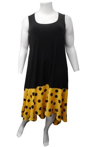 RTM 2464 Soft Knit Maxi Dress with Printed Chiffon Hem