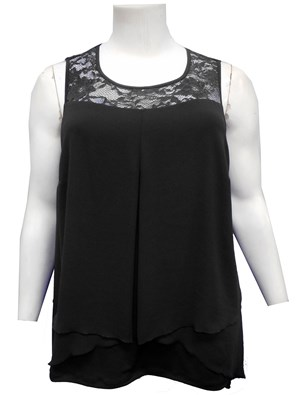 BLACK - Rebecca lace and chiffon top