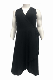 Abby Chiffon Sleeveless Wrap Dress With Scarf - Black