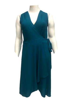 Abby Chiffon Sleeveless Wrap Dress With Scarf - Teal