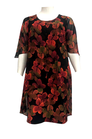 Helen Chiffon Overlay Print Dress- Red Floral