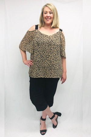 Macey Chiffon Print Top With Contrast Straps - Animal