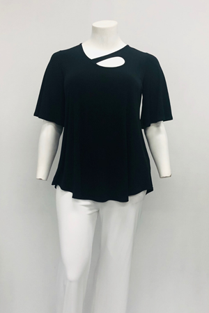 Front Key Hole Soft Knit Swing Top -Black