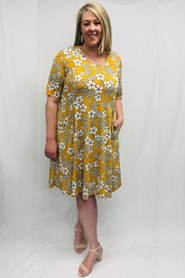 Soft Knit Pocket Dress - Yellow Floral