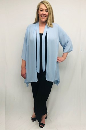 Danielle Chiffon Jacket With Tie Detail - Baby Blue
