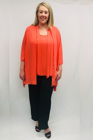 Danielle Chiffon Jacket With Tie Detail - Orange