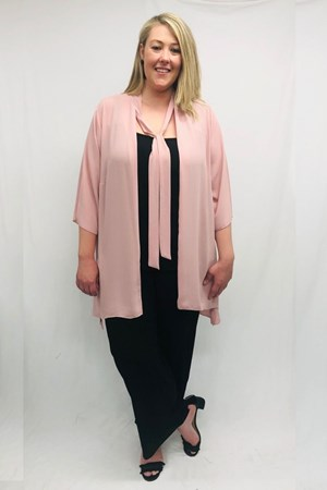 Danielle Chiffon Jacket With Tie Detail - Pink