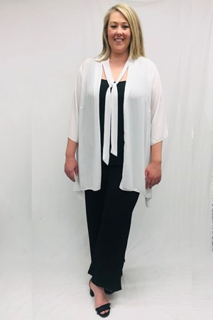 Danielle Chiffon Jacket With Tie Detail - White