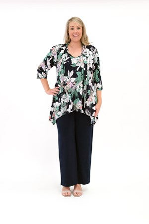 Printed Soft Knit Top with Tie Neck