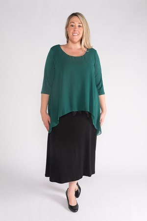 Mary Overlay Chiffon Top with Lace Trim