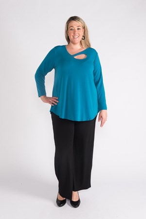 Jasmine Long Sleeve Key Hole Top ONLY AVAILABLE IN BLACK