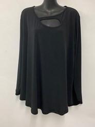 Plain Soft Knit Long Sleeve Top BLACK