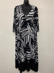 Printed Soft Knit Dress with NAVY Chiffon Hem NEW BLACK/WHITE PRINT