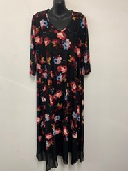 Printed Soft Knit Dress with Chiffon Hem NEW PORT PRINT