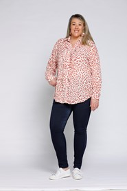 2594 Linda Frill Blouse - Terracotta/White Animal Print