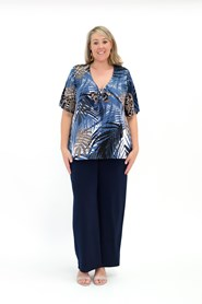 Printed Soft Knit Top with Tie Bust Detail