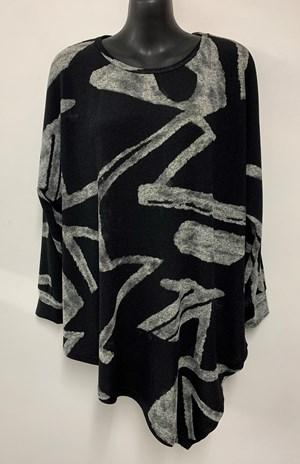 Nadine Angle Hem Woolly Knit Top BLACK/GREY