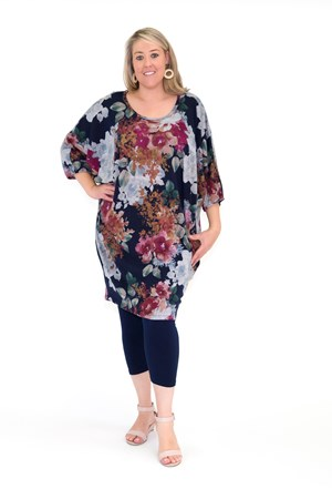 LIMITED Printed Woolly Knit Tunic Dress NAVY PRINT
