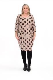 Printed Woolly Knit Tunic Dress BEIGE FLOWER PRINT