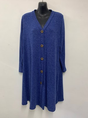 Alba Wool Knit Cardi with wood buttons BLUE