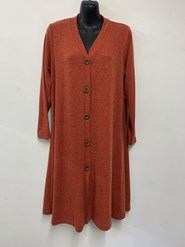 Alba Wool Knit Cardi with wood buttons RUST