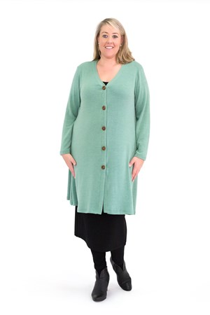 Alba Wool Knit Cardi with wood buttons APPLE GREEN